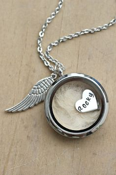 Pet loss Necklace Lock of Hair Necklace Pet memorial gift