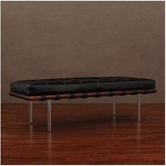 Andalucia Black Leather Bench Decor Cow Steel Coating Comforting Furniture