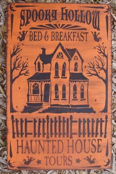 spooky hollow haunted house tours primitive halloween signs folk art clearance 27 message me if you