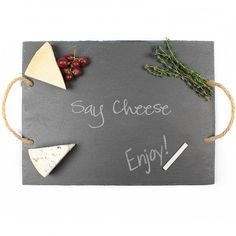 Say Cheese Slate Serving Board ($35) ❤ liked on Polyvore featuring home, kitchen & dining, serveware and slate serving board