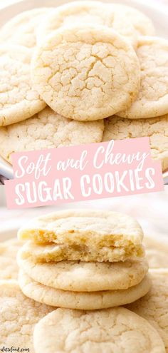 Chewy Sugar CookiesThese chewy sugar cookies are a classic sugar cookie recipe and come together so easily! This is a no chill sugar cookie dough so you can make these cookies in no time. They have soft yet chewy centers and are rich and buttery in Best Sugar Cookie Recipe, Easy Cookie Recipes, Chip Cookie Recipe, Easy Desserts, Sweet Recipes, Delicious Desserts, Yummy Food, No Sugar Desserts, Easy Homemade Desserts
