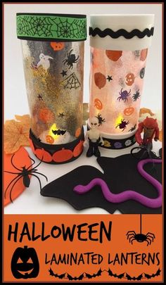 Halloween laminated lanterns craft, a simple craft using Halloween themed sequins to make some lanterns for use with battery powered tea light candles Creepy Halloween, Halloween Themes, Halloween Crafts For Toddlers, Crafts For Kids, Diy Projects For Adults, Creative Arts And Crafts, Simple Crafts, Lantern Craft, Battery Candles