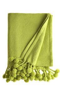 for Amy  Pom Pom Throw- Lime Green