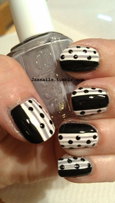 black and white with grey stripes nail art design