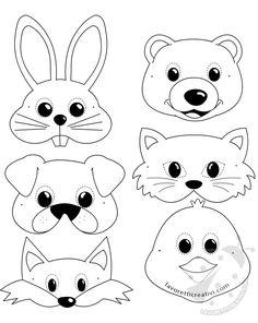 Maschere di animali per bambini da stampare e ritagliare beautiful cutest funny wild basteln lustig zeichnen Animal Masks For Kids, Animal Crafts For Kids, Mask For Kids, Quiet Book Patterns, Craft Patterns, Art Games For Kids, Felt Crafts, Paper Crafts, Printable Animal Masks