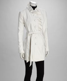 Take a look at this C.C. couture Winter White Ruffle Peacoat by C.C. couture on #zulily today!