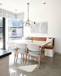 Style Me Pretty Living cozy midcentury modern kitchen nook. Gold chandelier for modern kitchen nook Home Kitchens, Dining Room Design, Kitchen Remodel, Kitchen Design, Dining Room Inspiration, Small Dining, Dining Nook, Dining Room Small, Home Decor