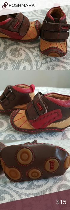 Brand new Umi newborn leather shoes Never worn, brown, tan and red newborn Umi leather shoes. Umi Shoes Baby & Walker