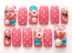 3D+nails+decoden+gyaru+Japanese+nail+art+lolita+cherry+by+Aya1gou,+$19.00