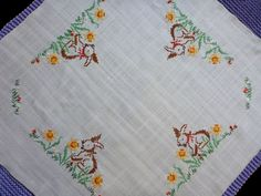 Vintage square tablecloth Easter embroidery hand by Retroom Vintage Easter, Light Beige, Etsy Vintage, Table Clothes, Cross Stitch, Bunny, Embroidery, Easter Ideas, Pattern
