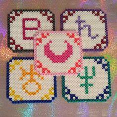 Sailor Moon coasters hama beads by bowtiecameraspy