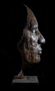 Mild steel or stainless steel plate Fabricated Metal Abstract sculpture by artist Rick Kirby titled: 'Brave New World (Massive Large Fragmented abstract Male Face sculpture)'