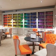 Color Inspiration Multicolored bookshelves and plump armchairs make for a cozy feel in the lounge of Bistro du Vin in London's Soho. Cool Bookshelves, Bookshelf Styling, Bookshelf Design, Bookshelf Ideas, Bookcases, Bookshelf Organization, Home Wall Painting, Bookshelf Inspiration, Diy Regal