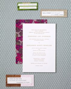 Jenny and her stationers, Hello!Lucky, collaborated on the stationery. The simple and classic invitation was edged and embossed in gold on thick card stock. It was packaged in a Kraft-paper box with a gold-leafed lid that was lined with patterned fabric and tied with rope hand-braided by the bride and her friends from strips of muslin, silk, and printed fabric.