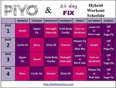 PiYo & 21 Day Fix Hybrid Schedule - I am excited to try this starting next week! I've been wanting to combine these two workout programs. 21 Day Fix Workouts, At Home Workouts, Monthly Workouts, Body Workouts, Quick Workouts, Workout Exercises, Fitness Exercises, Pilates, Health And Fitness