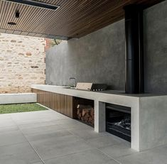 outdoor kitchen made of concrete Outdoor Areas, Outdoor Rooms, Outdoor Living, Outdoor Kitchen Patio, Outdoor Kitchen Design, Outdoor Barbeque Area, Concrete Kitchen, Concrete Patio, Backyard Patio Designs