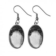 Pewter Engravable Oval Earrings by Salisbury Fine Metal Artisans