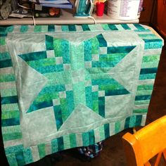 Made with the Binding Tool and using the pattern shown on the tutorial by Missouri Star Quilt Company. I am Very happy with the colour combination in this.