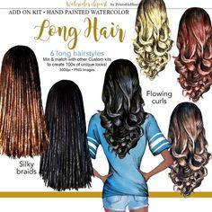 Hairstyles Sporty Add-On kit Girly Hairstyles, Sporty Hairstyles, Long Curls, Long Braids, Hair Comb Wedding, Bridal Hair, Watercolour Hair, Hair Clipart, Fashion Clipart