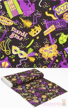 black cotton fabric with Mardi Gras theme, the green purple yellow elements are playful and energetic, very high quality fabric, typical great Timeless Treasures quality #Cotton #FamousPlaces #Landmarks #USAFabrics Mardi Gras, Yellow Ornaments, Modes4u, Kawaii, Retro Fabric, Green And Purple, Black Cotton, Cotton Fabric, Carnival