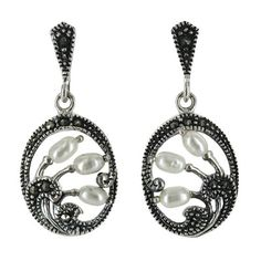 Sterling Silver Marcasite Three Freshwater Peal Oval Wave Drop Earrings