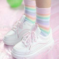 321edcb307dc soft pastel rainbow socks Aesthetic Clothes