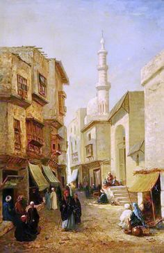 Mosque near the Bab al-Nasr, Cairo 1878  by John Varley II - British, 1850-1933 Oil on canvas, 75 x 49.7 cm  Location : Museums Sheffield collection