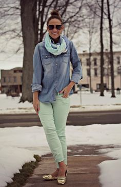 @Gap mint and chambray with metallic loafers