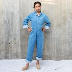 Caron Callahan Denim Fincher Jumpsuit at General Store Chill Style, Back Patch, Denim Jumpsuit, General Store, Work Wear, Feminine, Shirt Dress, Long Sleeve, Sleeves