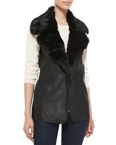 Leather Vest with Fur Collar by Bagatelle at Neiman Marcus.