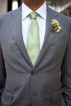 Groom style idea. I like the grey suit and white collar shirt, but I'm thinking either a salmon pink tie or a lavender tie!