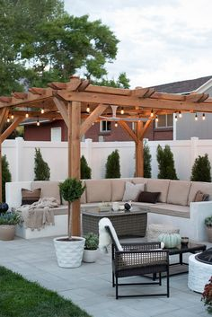 built-in outdoor sectional and string lights!