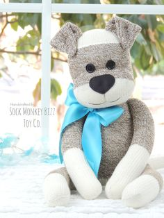Sock Monkey Doll, Puppy Dog **Made to order with a creation to shipment period of 3-5 business days. This Sock Dog is a SockMonkeyBizz original