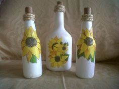 Botellas decoradas con técnica de decoupage