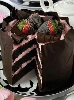 choco aardbei taart