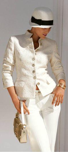 Gorgeous ivory pantsuit & hat.