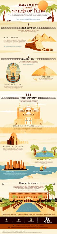 No matter how much time you have to explore, we worked with our friends at Cairo Marriott Hotel to map out the area's top attractions in this infographic. Make An Infographic, Infographic Examples, Information Graphics, Famous Landmarks, Giza, Data Visualization, Cartography, Graphic Design Inspiration, Travel