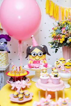 Pink Girly Minion Birthday Party on Kara's Party Ideas | KarasPartyIdeas.com (23) Minions Birthday Theme, Minion Party Theme, Despicable Me Party, 4th Birthday Cakes, 1st Birthday Parties, Birthday Party Decorations, 23 Birthday, Pink Minion, Fete Emma