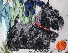 Black Dog embroidered in ribbon • because of the shine I think the ribbon used may have been satin rather than silk.