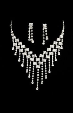 Crystals Party Wedding #Prom Set Earrings #Necklaces Style Code: 07971 $36.9
