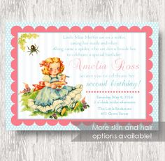Vintage Miss Muffet Invitation for Birthday Party by BeeAndDaisy