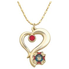 NEW DESIGN! Ladies Auxiliary Red Rhinestone Heart Necklace. 24 CT Gold Plated with LA Emblem in 3 Dimensional Heart Design with a drop down red rhinestone. $9.95.
