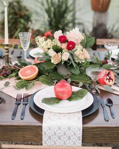 bright wedding place setting idea fruit wedding reception decor sara michelle weddings and events