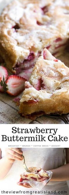 Strawberry Buttermilk Cake is an easy coffee cake loaded with fresh strawberries ~ make it for breakfast, brunch, or dessert. This is the perfect spring breakfast cake. #cake #coffeecake #breakfastcake #strawberries #strawberrycake #brunch #mothersday #easter #springcake via @https://www.pinterest.com/slmoran21/