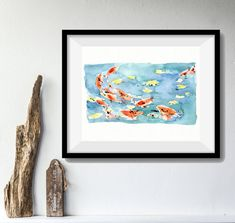 Koi Pond art Print/ Koi watercolor print/ Koi pond watercolor/ Abstract art/ colorful bright fun print/ blue water/ orange/ home decor