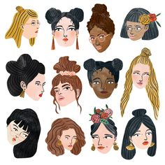 My illustration crush of the month! People Illustration, Graphic Design Illustration, Illustration Art, Ladies Day, Gouache, Caricature, Art Inspo, Painting & Drawing, Art Drawings