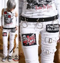 Hey, I found this really awesome Etsy listing at http://www.etsy.com/listing/122910361/punk-emo-skinny-fray-patch-stretch-white