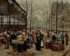 Les Halles - c.1879 by Jean Beraud1849-1935