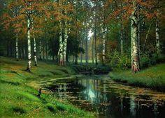 Ефим Ефимович Волков (1844-1920). Золотая осень. Тихая речка. 1893 г.