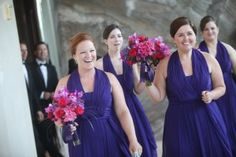 A Year of St. Louis Weddings: Bridesmaids in purple dresses.